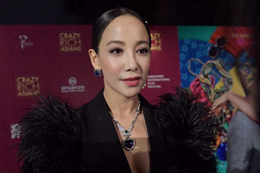Fiona Xie wearing a $2m Bulgari necklace at the Crazy Rich Asians Singapore premiere at Capitol Theatre on Aug 21, 2018.