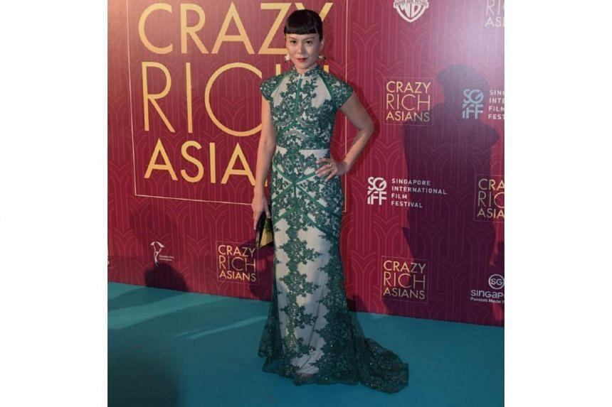 Janice Koh on the red carpet at the Crazy Rich Asians Singapore premiere at Capitol Theatre on Aug 21, 2018.