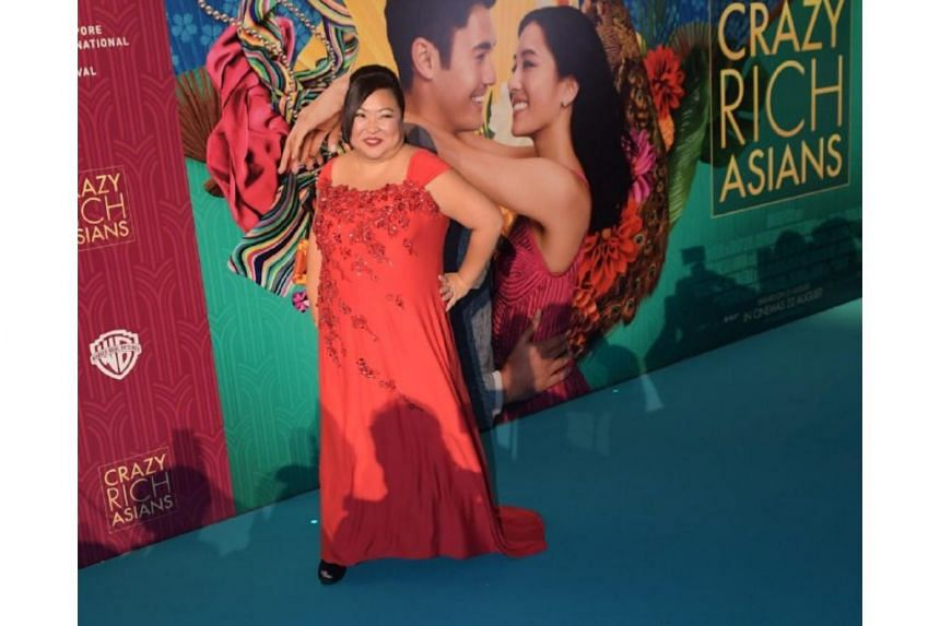 Selena Tan on the red carpet at the Crazy Rich Asians Singapore premiere at Capitol Theatre on Aug 21, 2018.