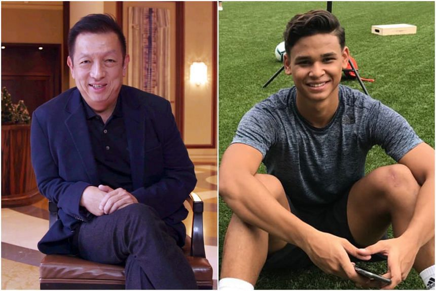 """Peter Lim (left) is """"very disappointed"""" in Irfan Fandi's decision to turn down a contract offer from Sporting Braga."""