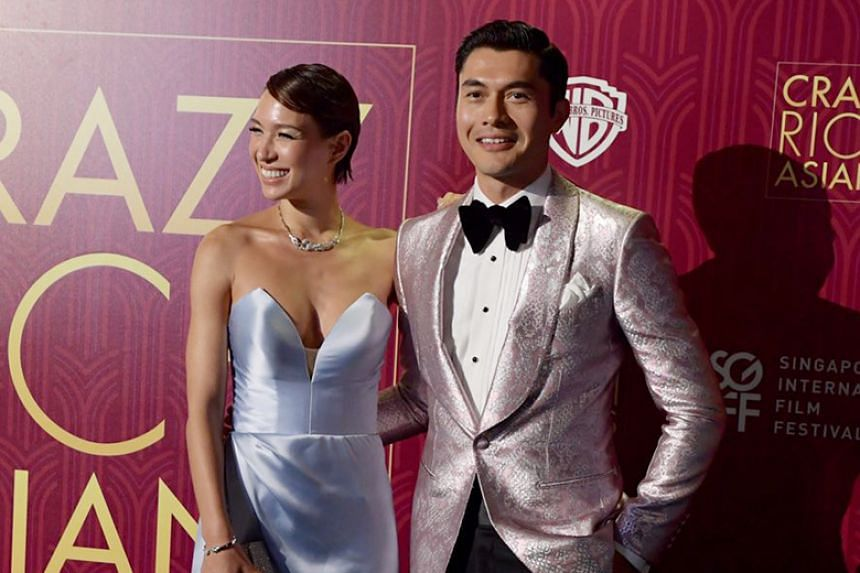 Henry Golding with wife Liv Lo at the Singapore premiere of Crazy Rich Asians.