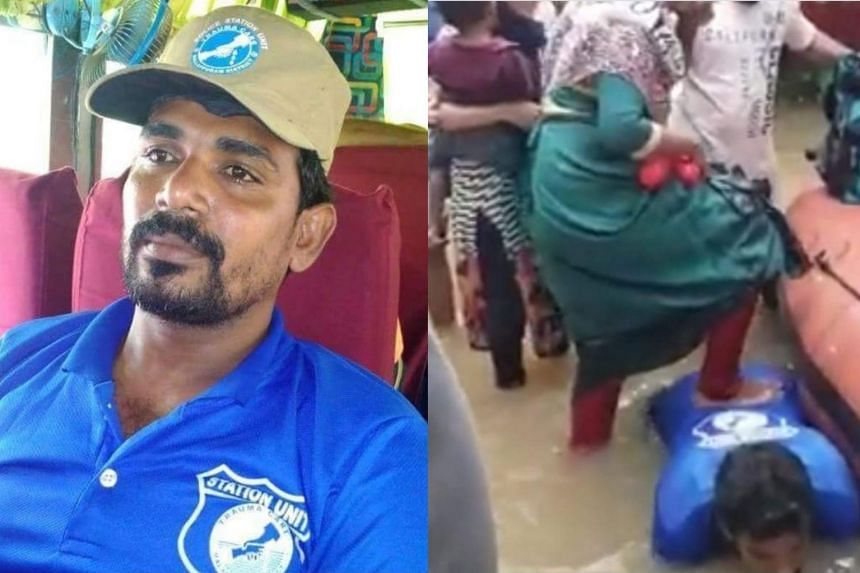 Jaisal KP went viral on social media after going down on all fours to help women board a rescue boat.