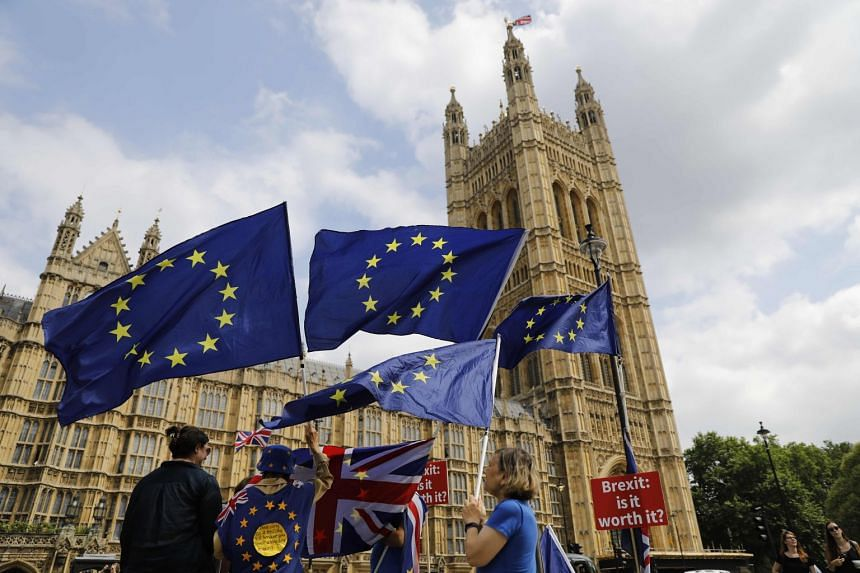 Anti-Brexit protesters demonstrate with placards and EU flags against Britain's exit from the European Union, outside the Houses of Parliament in London, on July 4, 2018.