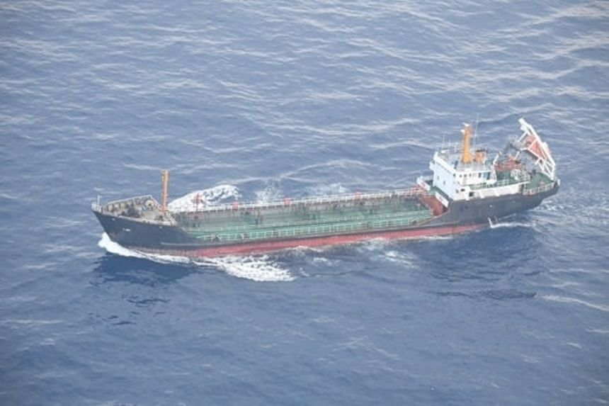 North Korean-flagged tanker JI SONG 6 is pictured in the East China Sea in this photo taken on May 19, 2018, by Japan's Ministry of Defense.