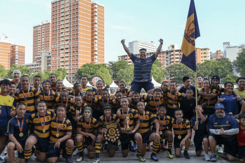 Anglo Chinese School (Independent) comprehensively defeated arch-rivals St Andrew's Secondary 60-0 in the boys' C Division rugby final on Monday (Aug 20) to clinch the school's third title in a row.