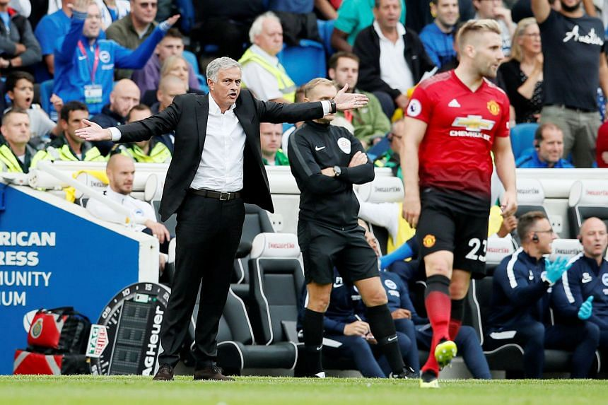 """A frustrated Jose Mourinho gesturing on the touchline during Manchester United's shock 3-2 defeat by Brighton at the Amex Stadium on Sunday. The United boss said it was """"mission impossible"""" to win the match with the mistakes his players made."""