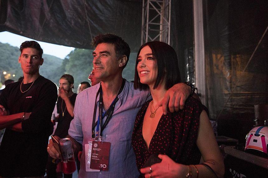 Pop star Dua Lipa with her father, Mr Dukagjin Lipa, backstage at the Sunny Hill Festival