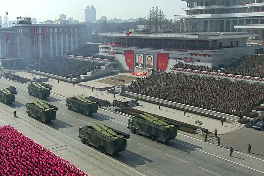 North Korea staged a military parade to mark the 70th anniversary of its armed forces, in a show of strength, in Pyongyang, on February 8, 2018.