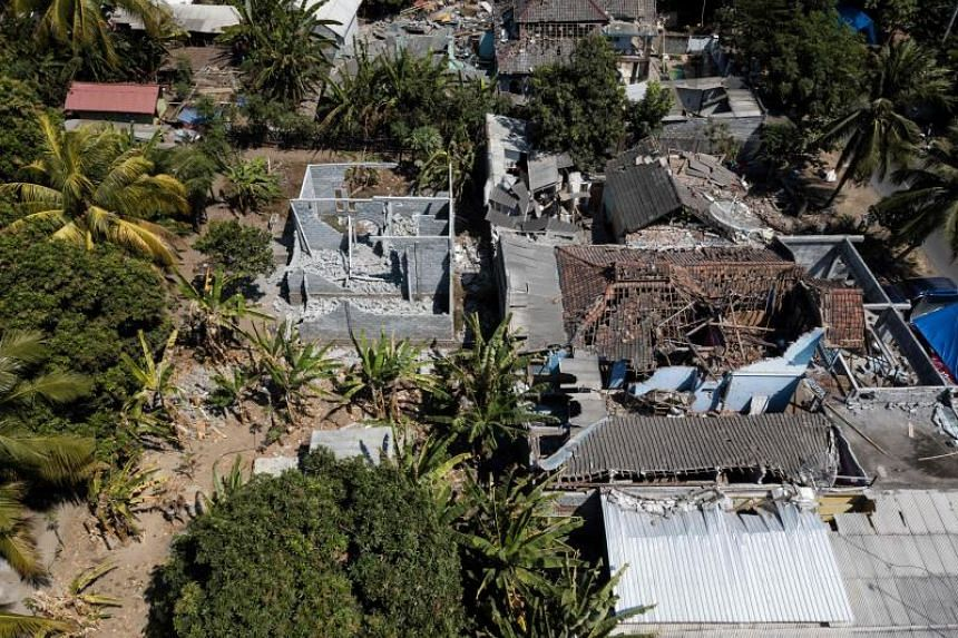 Damaged buildings are seen in the village of Sugian on Indonesia's Lombok island on Aug 21, 2018, after a series of recent earthquakes.