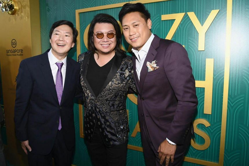 Actor Ken Jeong (from left), author Kevin Kwan and actor Jon M. Chu arrive at the Crazy Rich Asians Premiere at TCL Chinese Theatre IMAX in Hollywood, on Aug 7, 2018.