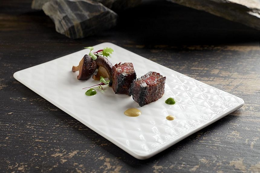 Grilled USDA beef short rib with honey char siew sauce