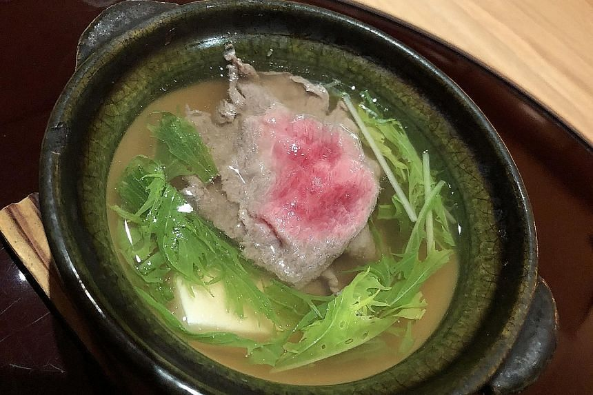 The wagyu was served in the shiizakana course (above) - a clear broth with vegetables, tofu and thin slices of the beef.
