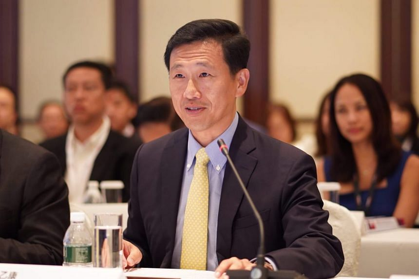 Education Minister Ong Ye Kung giving his opening remarks at the ninth Singapore-Guangdong Collaboration Council meeting in Shangri-La Hotel, on Friday (Aug 24).