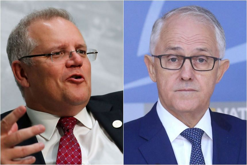 Mr Scott Morrison (left) won a three-way battle for the leadership of the Liberal party, on Aug 24, with incumbent Malcolm Turnbull not contesting the party ballot.