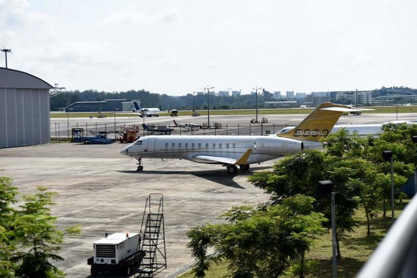 A file photo taken on Feb 6, 2017, shows a Bombardier Global 5000 plane without a body number parked at Seletar Airport.