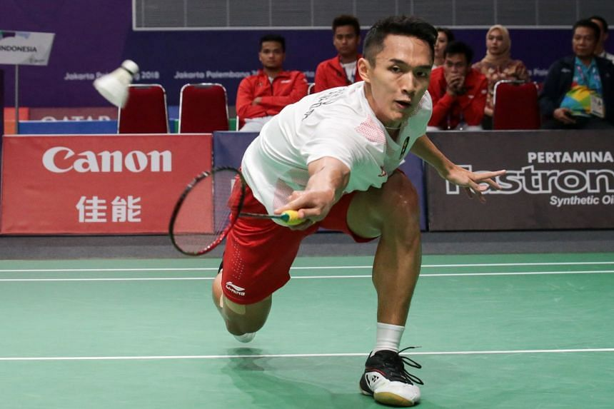 Jonatan Christie during his loss to Chen Long during the men's badminton team final between China and Indonesia at the 18th Asian Games in Jakarta, Indonesia, on Aug 22, 2018.