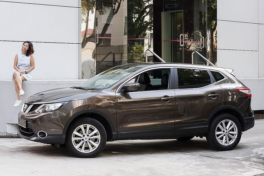 The roomy Nissan Qashqai is especially handy for Ms Pamela Tan when she has to transport large items for work.