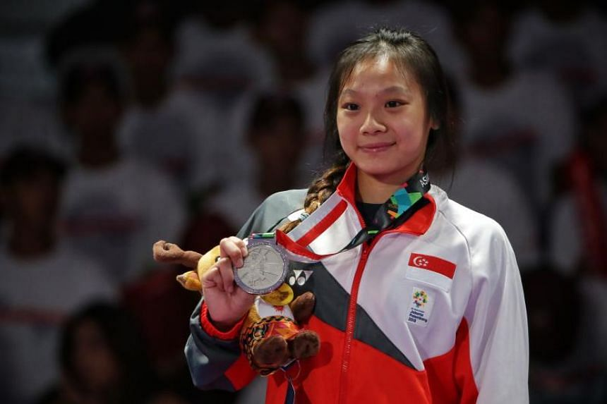 Singapore's Constance Lien with her silver medal in the women's ju-jitsu 62kg category at the Asian Games in Jakarta on Aug 25, 2018.