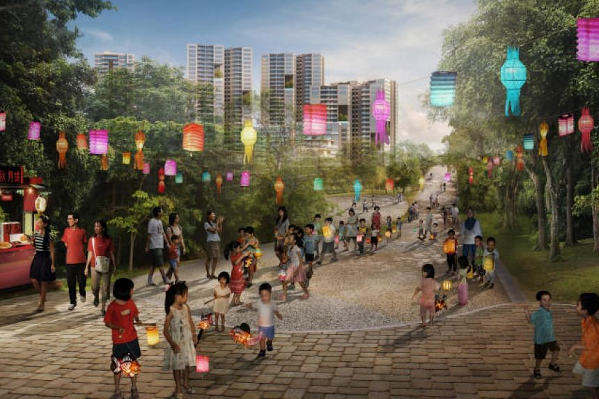 A key feature of Punggol Point District is a new heritage trail along Old Punggol Road (above), once the main transportation route for farmers and fishermen plying their wares from Punggol to Serangoon.