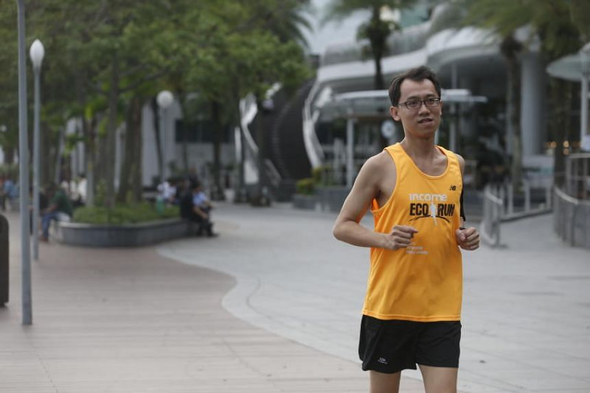 Stroke survivor Mak Kwok Fai, 39, will be taking part in his first The Straits Times Run on Sept 23, 2018. He had a stroke at age 29 in 2008 and was hospitalised for three months. Mak decided to start running again last year and has since completed a