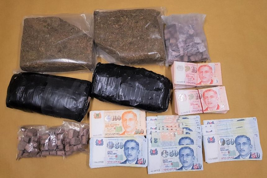 Drugs and cash recovered from a unit near Woodlands Crescent during an operation on Aug 24, 2018.