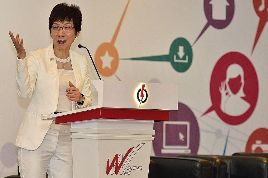 Minister for Culture, Community and Youth Grace Fu speaking at the annual conference for the PAP Women's Wing yesterday.