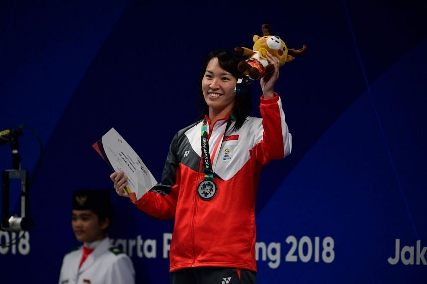 Roanne Ho with her silver medal from the women's 50m breaststroke final at the 18th Asian Games in Gelora Bung Karno Aquatic Centre, Jakarta, on Aug 23, 2018.