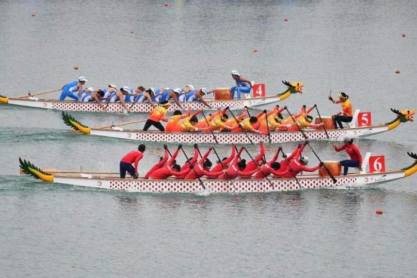 The Unified Korea team (top) competing in the women's 500m dragon boat race at the 2018 Asian Games in Palembang, on Aug 26, 2018.