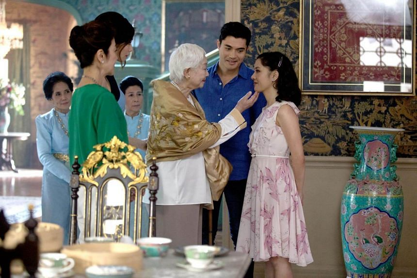 (From left) Lisa Lu, Henry Golding and Constance Wu in Crazy Rich Asians.