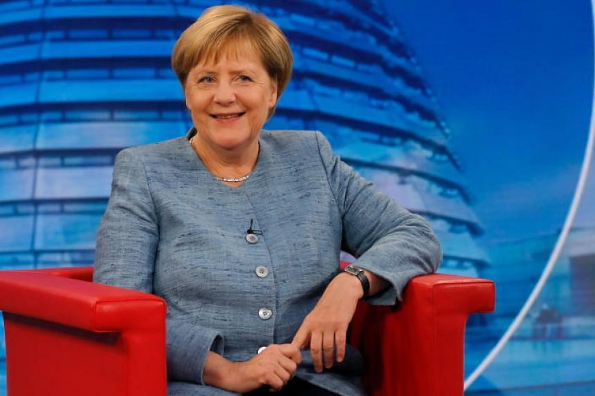 German Chancellor Angela Merkel sits at the beginning of the ARD summer TV interview, in the ARD headquarters, in Berlin, Germany, on Aug 26, 2018.