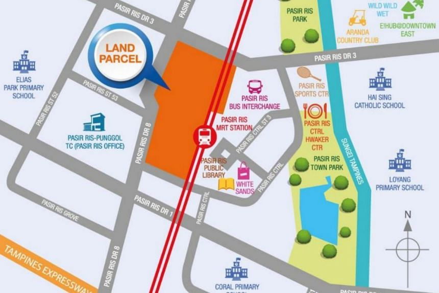 The land parcel, located next to Pasir Ris MRT station, can yield up to 600 private homes.