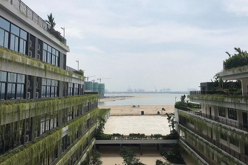 Ongoing construction seen from the Shattuck-St Mary's School Forest City campus in Johor last week. Prime Minister Mahathir Mohamad, who said yesterday that Malaysia will not allow foreigners to buy residential units at Forest City, or grant visas fo