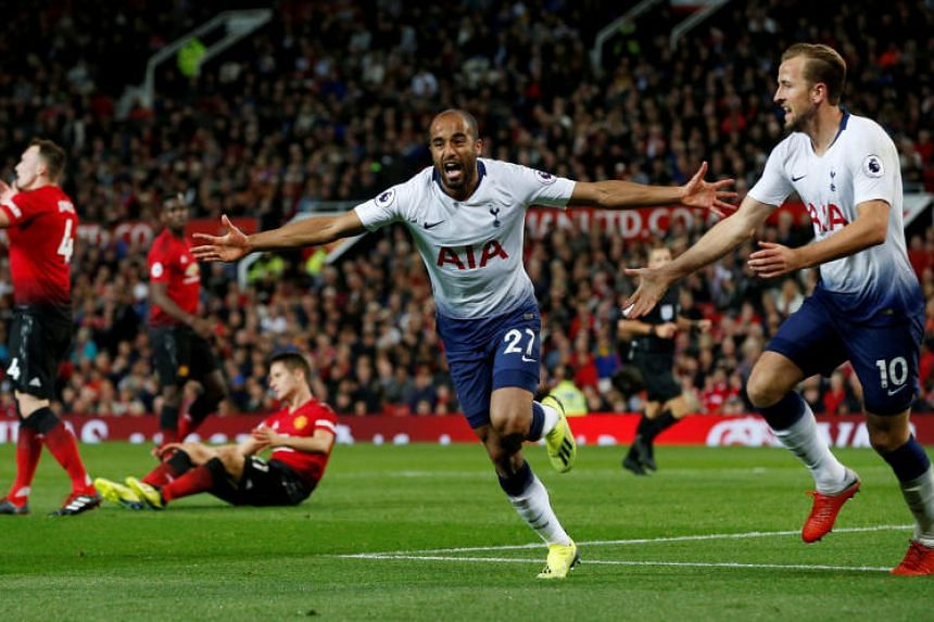 Tottenham's Lucas Moura celebrates scoring their second goal at Old Trafford, Manchester, Britain, on Aug 27, 2018.