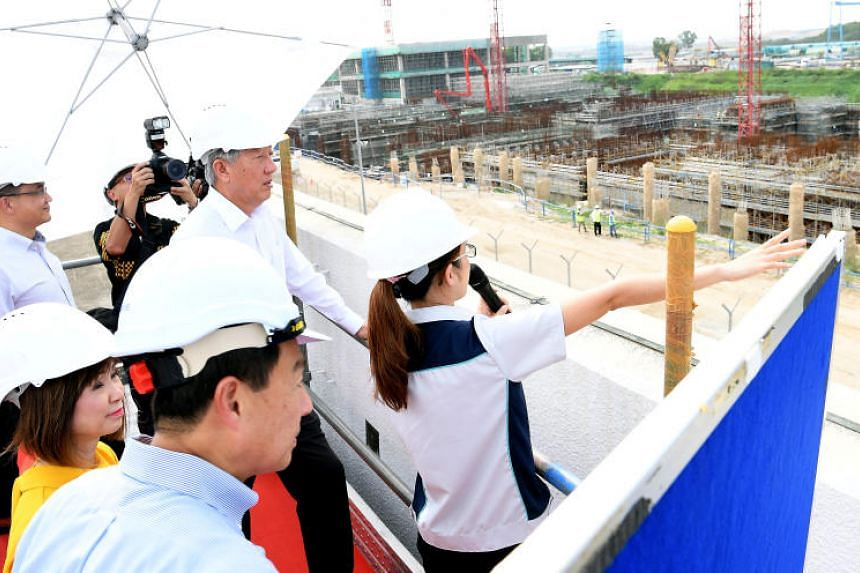 Deputy Prime Minister Teo Chee Hean touring the Changi Water Reclamation Plant on Aug 28, 2018.