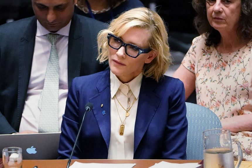 Actress Cate Blanchett speaks during the UN Security Council meeting on Myanmar.