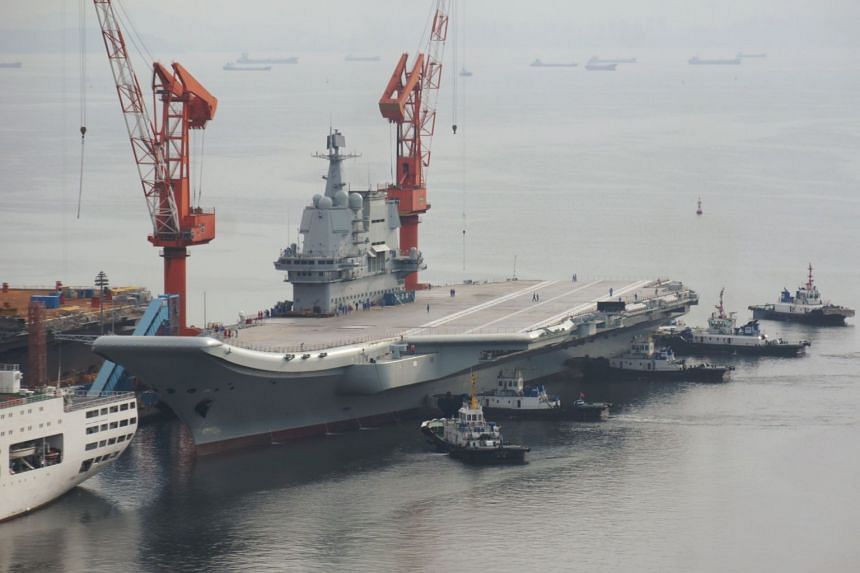 China's first domestically developed aircraft carrier departs the port for its second sea trial in Dalian, Liaoning province, China, on Aug 26, 2018.
