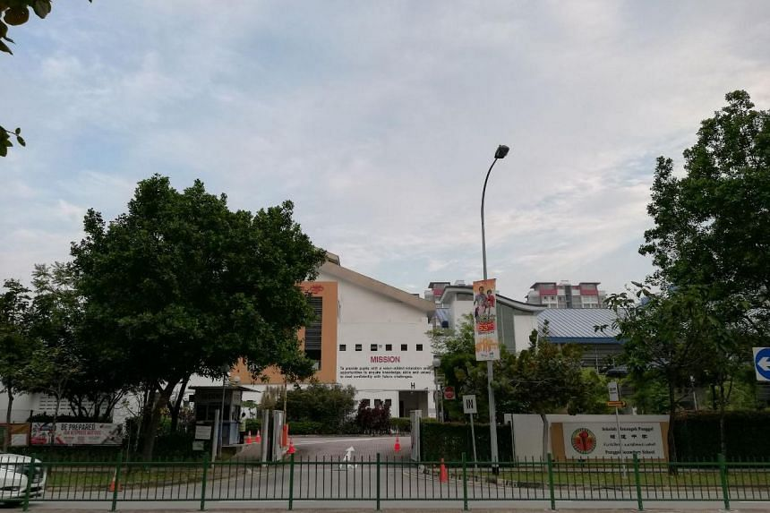 Front gate of Punggol Secondary School. A woman was attacked in the area by a wild boar on Aug 28, 2018.