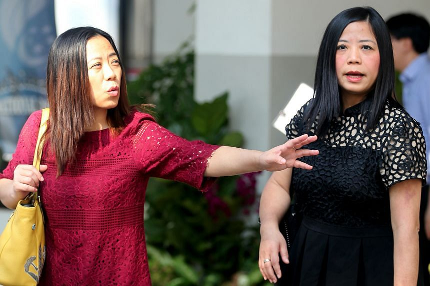 Tang Lei (in red dress) and her sister Tang Bei outside the court yesterday. The 2015 incident happened after Tang Bei was caught earlier that year tailing other residents out of a side gate of the condominium in Simei Street 4.