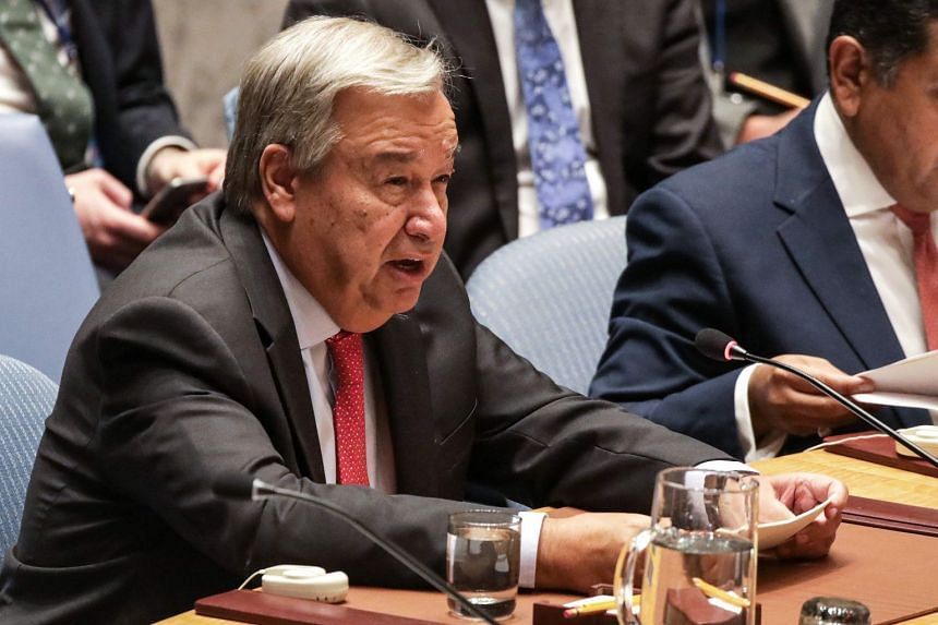 Guterres addresses the UN Security Council on the situation in Myanmar at UN Headquarters on Aug 28, 2018.