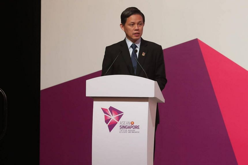 Minister for Trade and Industry Chan Chun Sing delivering opening remarks at the opening ceremony of the 50th Asean Economic Ministers Meeting on Aug 29, 2018.