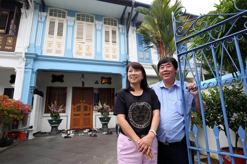 Nicky Yeo and his wife outside the Visual Arts Centre along Penang Road.