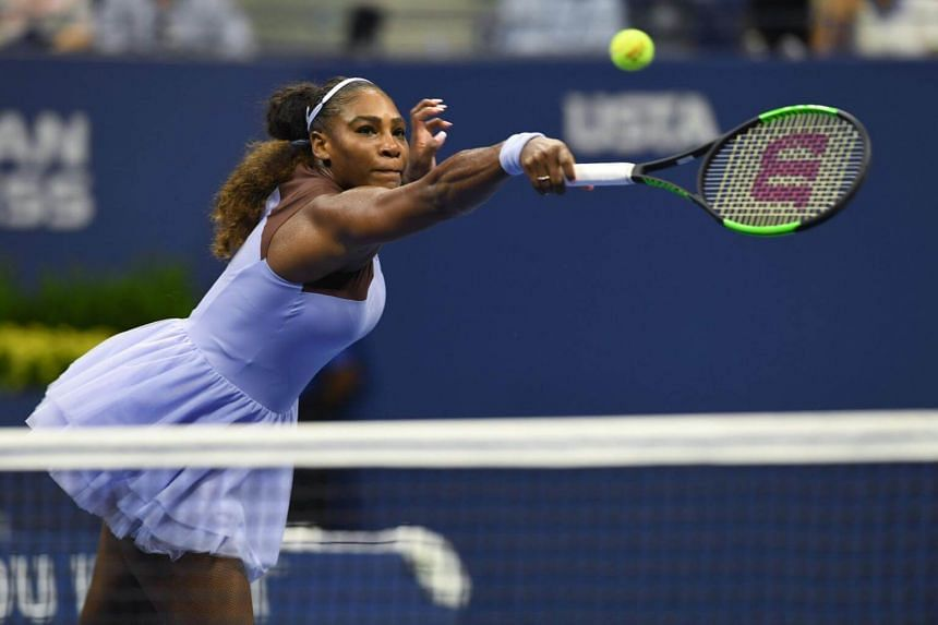 Serena Williams hits a return to Carina Witthoeft during Day 3 of the 2018 US Open Women's Singles match on Aug 29, 2018.