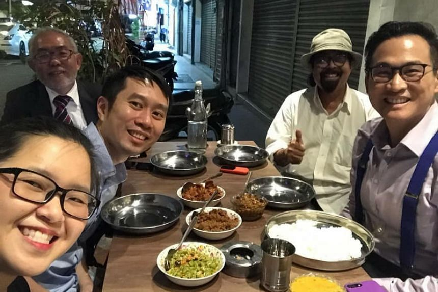 (Clockwise from bottom left) Singapore activists Kirsten Han and Jolovan Wham, Mr Tan Wah Piow, Mr Hishamuddin Rais and academic Thum Ping Tjin having dinner in Kuala Lumpur on Aug 30, 2018.