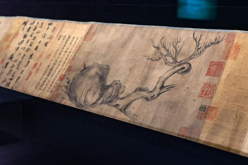 """A section of the painting entitled """"Wood and Rock"""" by Song Dynasty artist Su Shi is shown during a media preview of Christie's Hong Kong Autumn Sale on Aug 30, 2018."""
