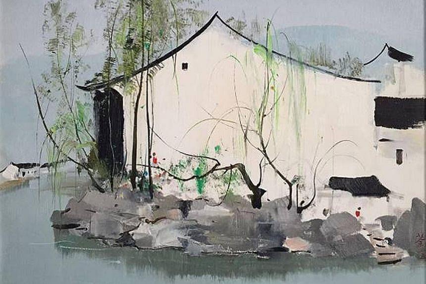 Riverside Households (1985) by Wu Guanzhong.