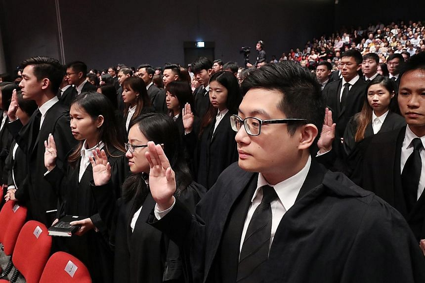 Lawyers gathered at the Supreme Court auditorium for yesterday's mass call, a proceeding that formally admits them to the Bar. Currently, admission to the Bar is synonymous with being qualified to practise law, but the new regime proposes to uncouple