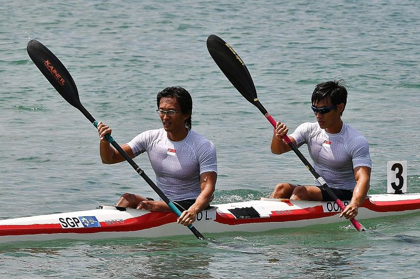 Lucas Teo (left) and Brandon Ooi in the kayak doubles (K2) 1,000m men's final yesterday. Despite a false start due to a technical glitch, they focused on their game plan and finished just out of the medals in fourth.