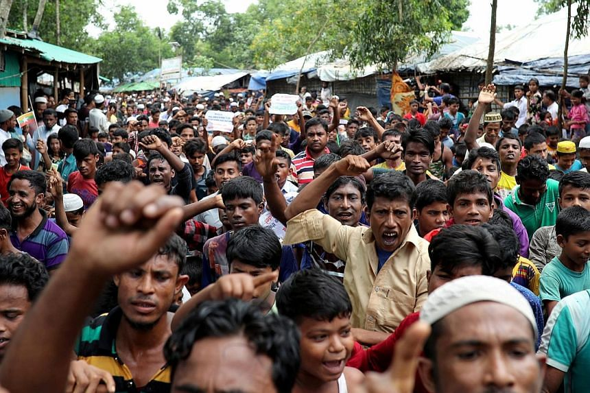 """A Rohingya protest in the Kutupalong refugee camp to mark the one-year anniversary of their exodus to Bangladesh last Saturday. There has been an uptick in """"chatter"""" promoting the crisis as a powerful motivation for militant action."""