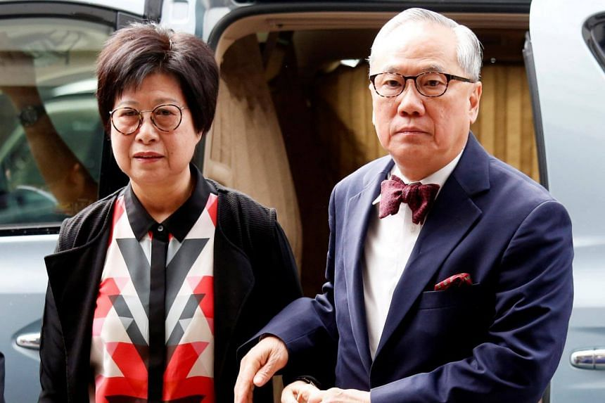 Former Hong Kong Chief Executive Donald Tsang and his wife arrive at the High Court for his appeals court judgment on a misconduct charge in Hong Kong, on July 20, 2018.