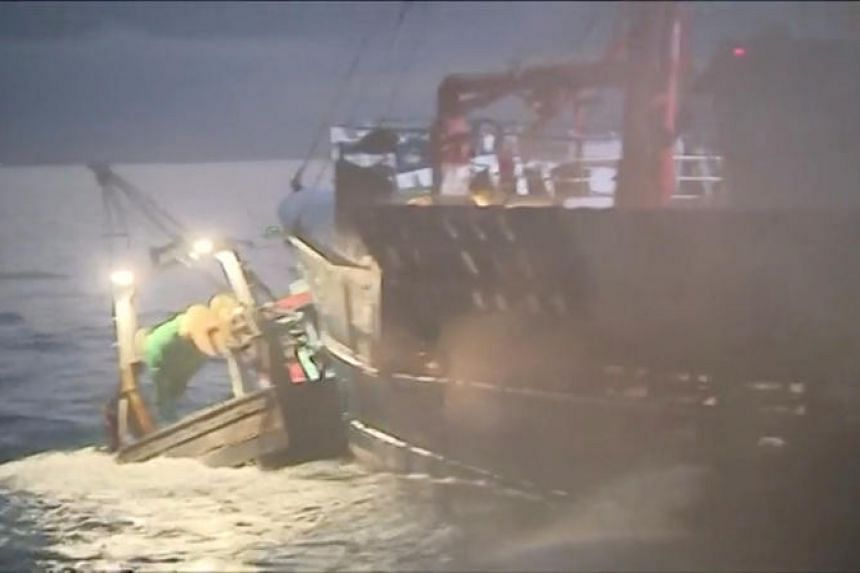 French and British fishing boats collide during scrap in the English Channel over scallop fishing rights, on Aug 28, 2018 in this still image from a video.